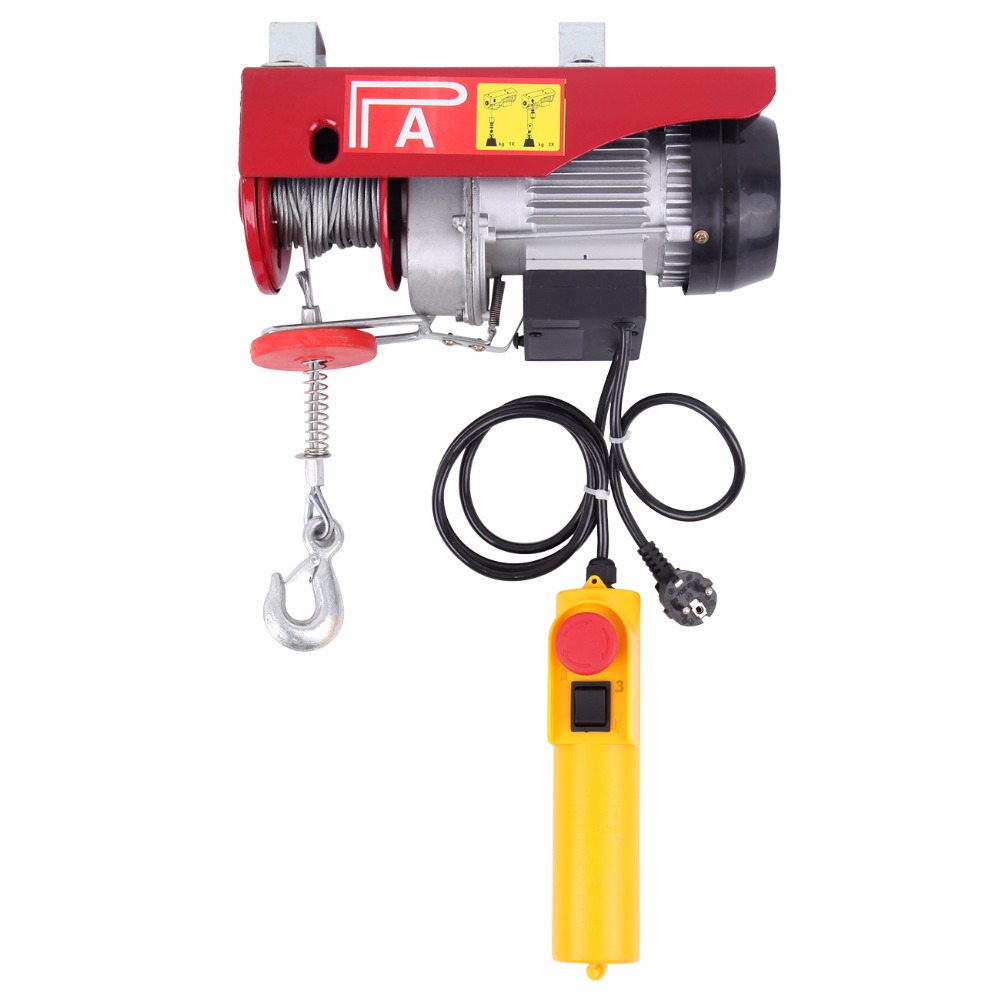 (Ship from EU) 250kg Electric Winch Hoist Crane Overhead Garage Winch Remote Control Auto Lift ...