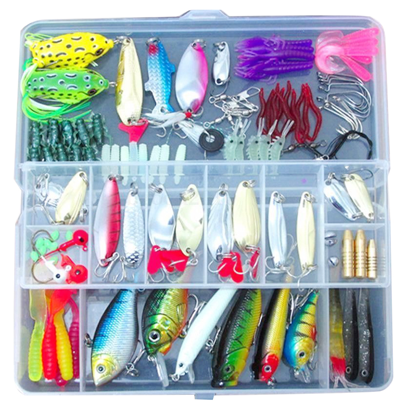 100 Fishing Lures Spinners Plugs Spoons Soft Bait Pike Trout Salmon+<font><b>Box</b></font> Set