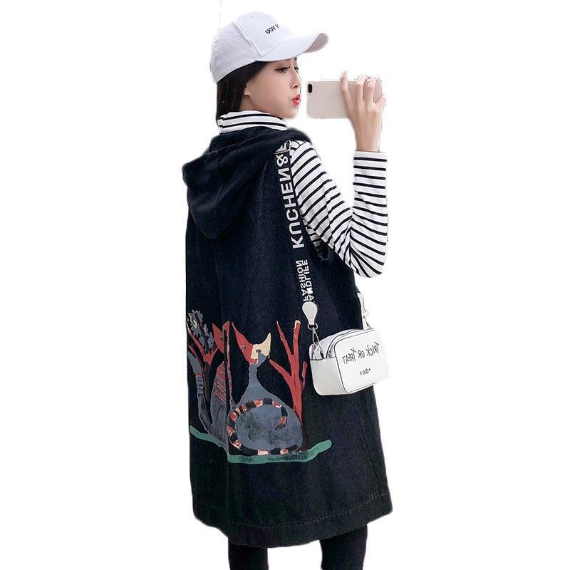 New Extra Large Size Clothing Long Denim Vest Women Loose Print Hooded Jacket Sleeveless Coats Spring Waistcoat Streetwear F532