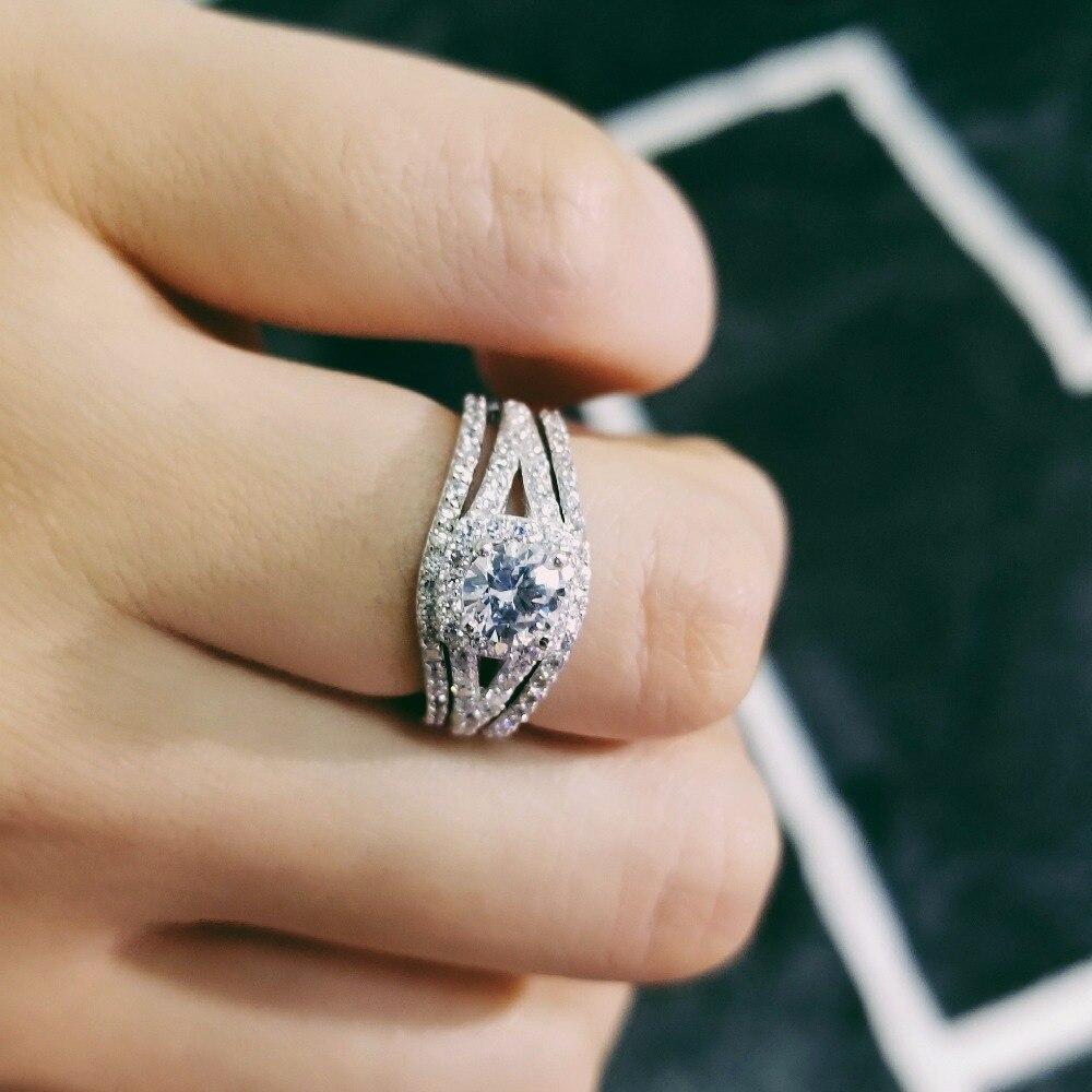 Цельное серебряное обручальное кольцо Набор O палец Анель де со стразами идеально сочетаются с нарядным CZ Циркон Кольца Анель для Для женщин кольца пара наборы для ухода за кожей LR236CS
