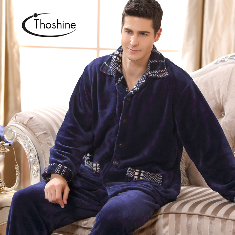 Thoshine Winter Spring Thick Coral Fleece Men Warm Pajamas Sets Of Sleep Tops & Shorts Flannel Sleepwear Thermal Home Clothing