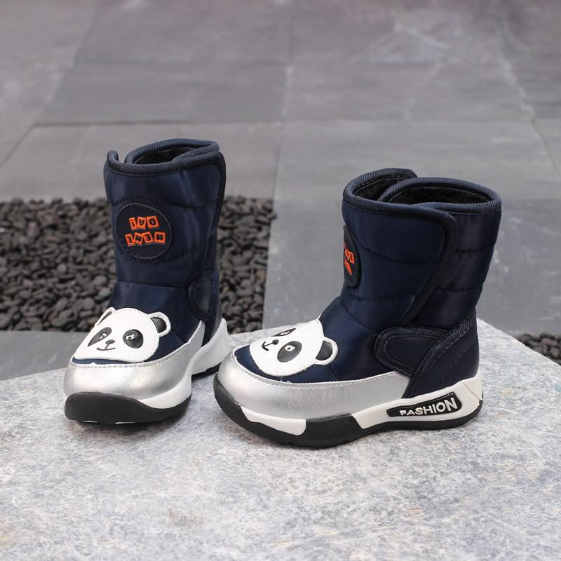Winter Boys Boots Waterproof Mid-calf Children Baby Girls Snow Boots For Pu Leather Warm Plush Fashion Kids Shoes Rubber Boots