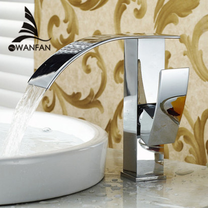 Free Shipping Wholesale And Retail Promotion Chrome Finish Brass Deck Mounted Waterfall Bathroom Basin Faucet Sink Mixer Tap 514 free shipping wholesale and retail golden waterfall arc shaped basin vessel sink faucet deck mount basin mixer tap