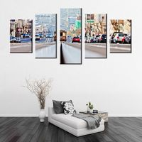 Europe Street Electric Railway Car Landscape 5 Panels HD Print Art Wall Canvas Painting For Home
