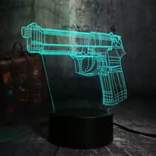 New Battle Royale Game PUBG TPS Pistol Gun Rifle LED Night Light Desk Table Lamp RGB 7 Color Boys Toy Home Decor Christmas Gift(China)