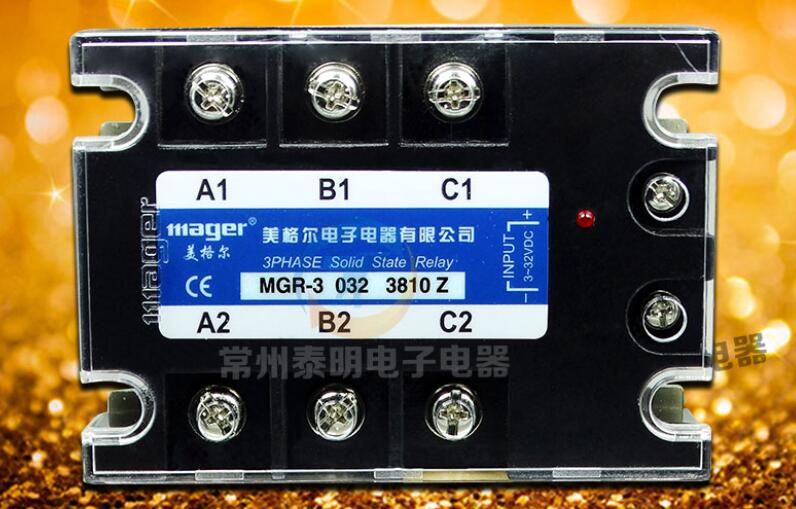 Megal Three Phase Solid State Relay DC-AC 10A DC Control AC MGR-3 032 3810Z genuine three phase solid state relay mgr 3 032 3880z dc ac dc control ac 80a