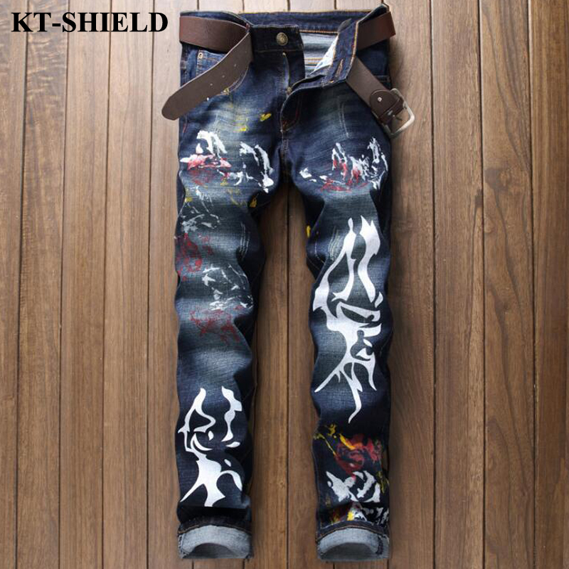 New Fashion Men Jeans slim fit straight denim pants paint printed jeans for man casual cotton