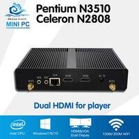 2 HDMI Intel Celeron N2808 Pentium N3510 Quad Core Media Player Windows 10 Ubuntu Mini Computer