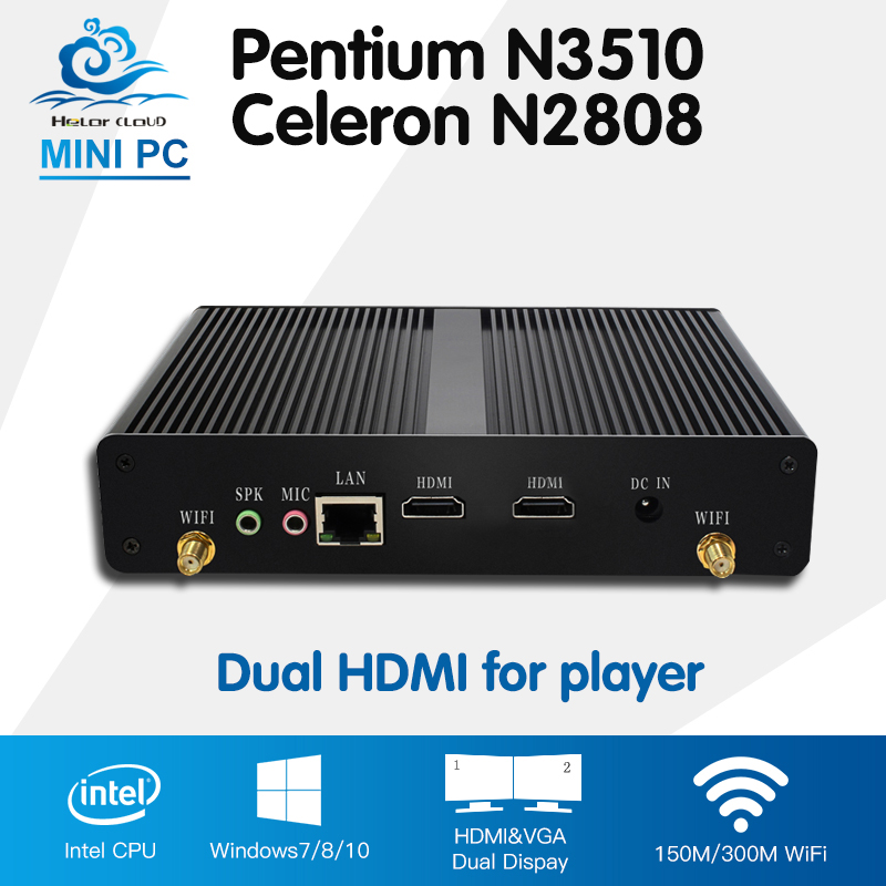 2*HDMI Intel Celeron N2808 Mini PC Pentium N3510 Quad Core Windows 10 Ubuntu Mini Computer HTPC Fanless 300M Wifi tv box player цены