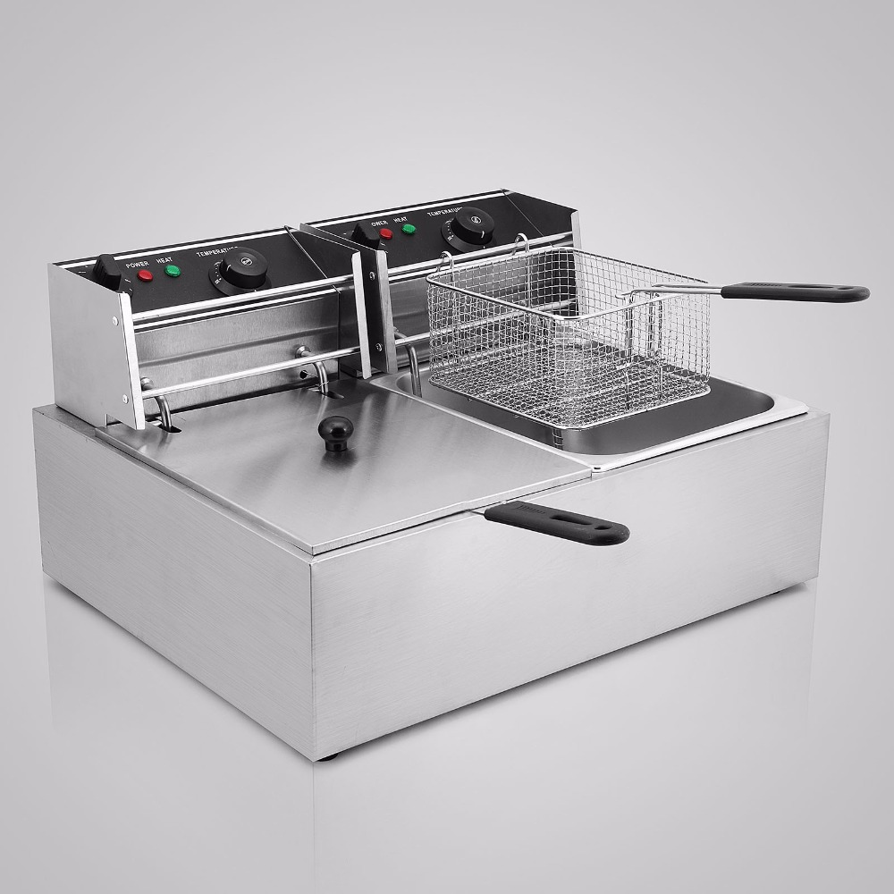 Quick-heat function  Electric Commercial Deep Fryer 5000W 20L   Steel Benchtop with Power-saving auto thermostat & Twin BasketQuick-heat function  Electric Commercial Deep Fryer 5000W 20L   Steel Benchtop with Power-saving auto thermostat & Twin Basket