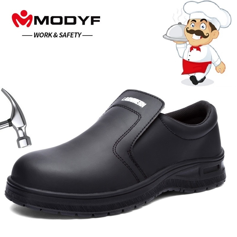 MODYF Steel Toe Non-slip Waterproof Oil-proof Kitchen Work Shoes For Chef Master Cook Hotel Restaurant Slippers Flat Sandals