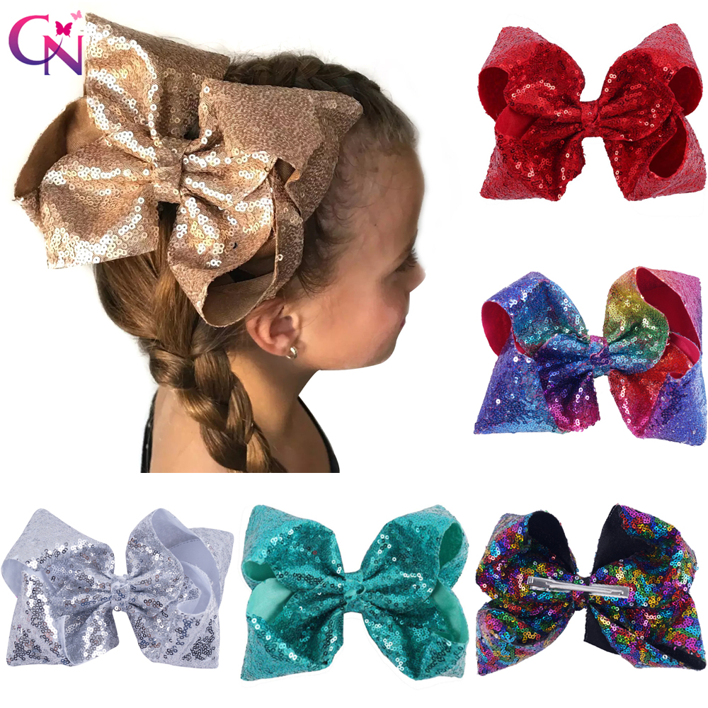 8 Large Sequin Hair Bows With Clips For Kids Girls Children Handmade Boutique Bling Knot Jumbo Bows Hairgrips Hair Accessories 40pcs lot 30 colors 4inch hair bows kids girls hair clips boutique bows hairpins for kids children kids girl hair accessories