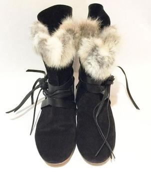 Real Rabbit Fur Women Leather Straps Lace Up Snow Boots Black Suede Leather Ladies Flat Ankle Boots 2018 Winter Hot Boots Size41