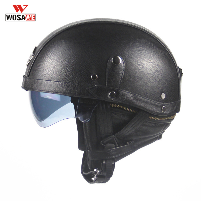 Casque moto rcycle vintage PU cuir ouvert visage demi casques avec masque masque Casque Casque moto moto cross casques