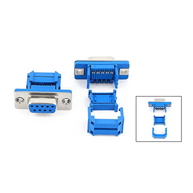 Good 5 parts D-SUB 9-pin DB9 Female IDC crimp adapter plug for ribbon cable Blue