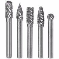 5pcs 50 60mm Length Tungsten Carbide Rotary Point Burr Die Grinder Bit Set 6x8mm For Metal