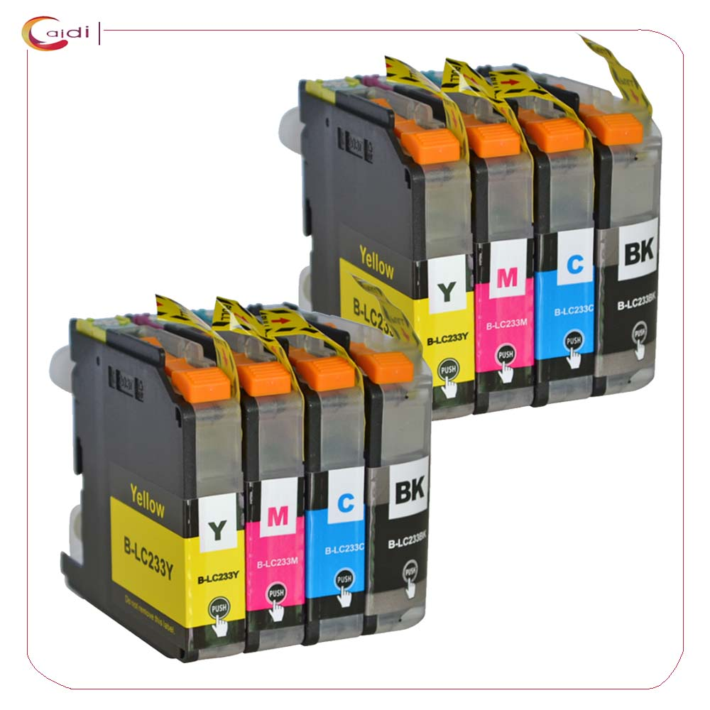 (2 черный, 2 голубой, 2 пурпурный, 2 желтый) Совместимые чернильные картриджи LC233 для Brother DCP-J4120DW MFC-J4620DW J5720DW