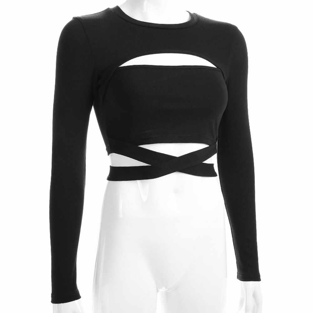 Gótico otoño Sexy Cool Casual calle alta camisetas mujeres camisetas de corte Slim liso encaje chicas del Club de la moda de mujer negro Tee Top