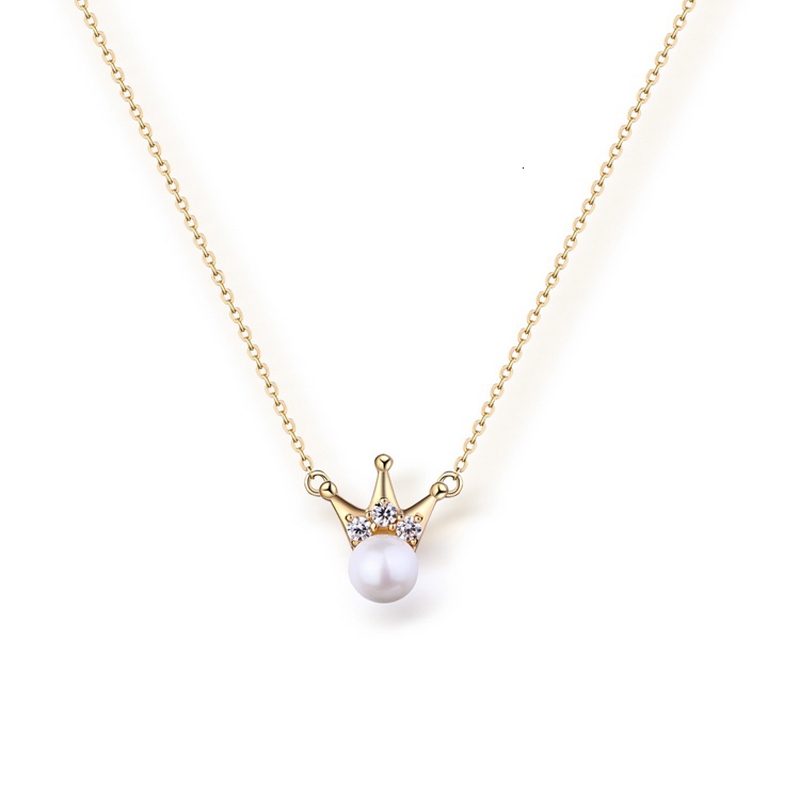 JXXGS Jewelry New Designs 14k Gold Crown Fresh Water Pearl Fashion Pendants With Chain Necklace