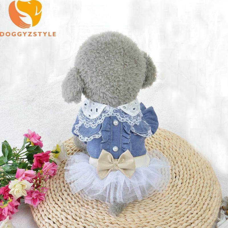 Verano Jean perro vestido ropa para Perros princesa boda Encaje tutú ...