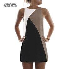 2018 Для женщин летнее платье Повседневное без рукавов Вечеринка Пляжные наряды Короткие мини платье Vestido Цвет Лоскутные платья