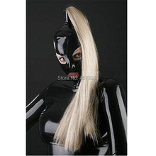special exotic handmade unisex black Latex hoods Mask With Wig Open eyes mouth nose holes cekc fetish customize size XS-XXL