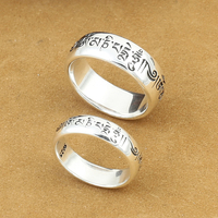 Handmade 925 Silver Tibetan OM Words Ring Real 925 Silver OM Mani Padme Hum Ring Buddhist