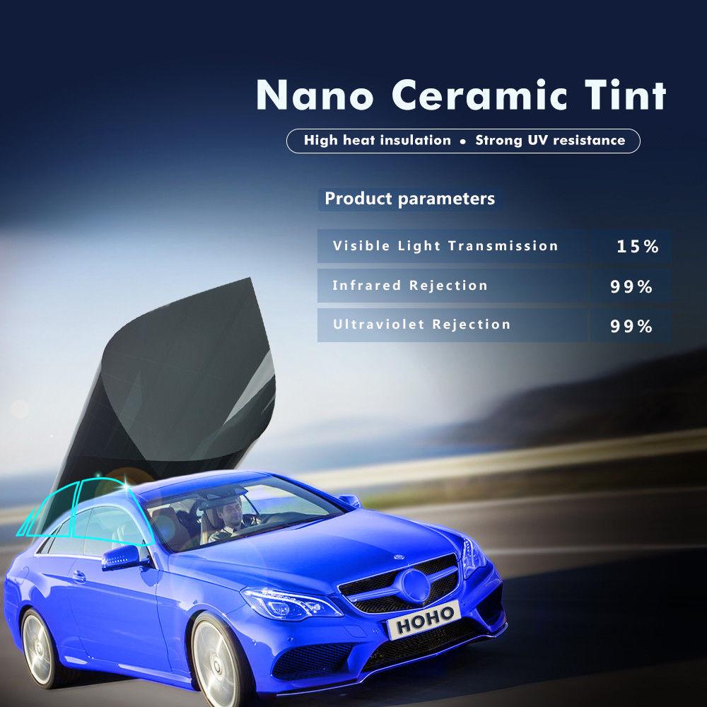 152cm Width 2PLY 15%VLT Auto Nano Ceramic Solar Tindow Tint Film UV protection tinted Car Sunshade Window Film Heat Rejection