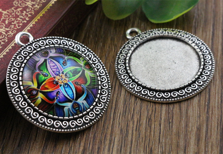 New Fashion  3pcs 25mm Inner Size Antique Silver Simple Style Cabochon Base Setting Charms Pendant (A3-52)New Fashion  3pcs 25mm Inner Size Antique Silver Simple Style Cabochon Base Setting Charms Pendant (A3-52)
