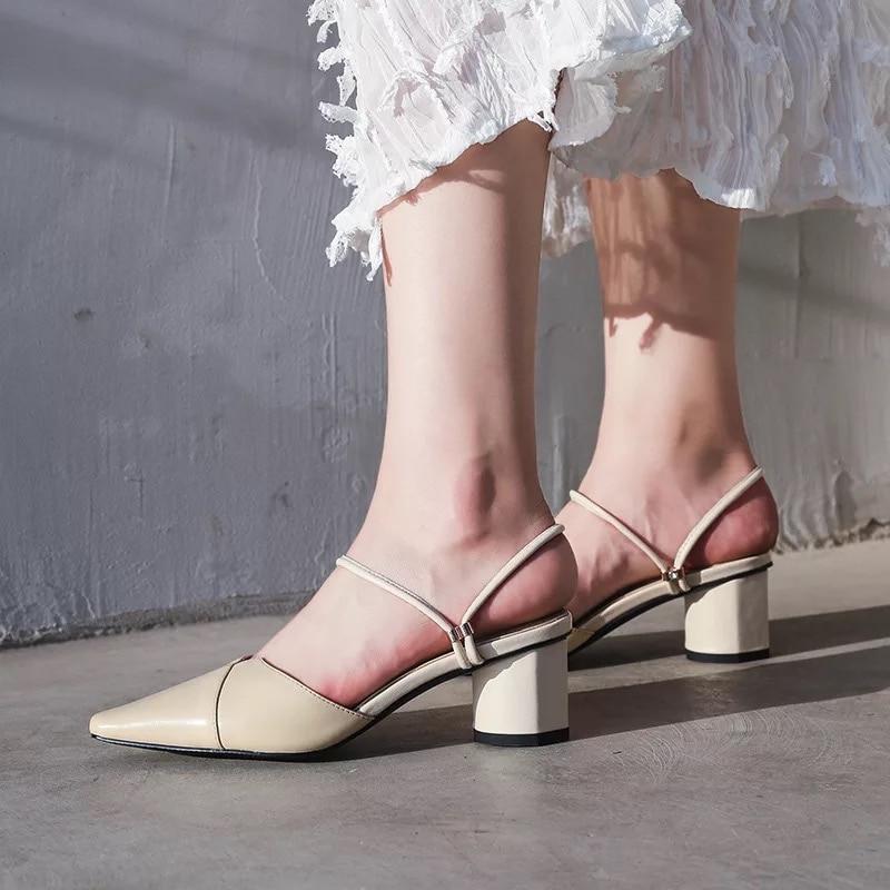 Qualité Mode 2019 Bout Nouvelles Sandales Pointu Stkehidba White Femmes Décontractées Talon De Med Chaussures Pompes apricot Top black Cuir Véritable En awCq8Cnd