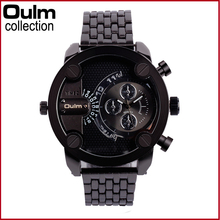 Brand Oulm 3130 Relogio Masculino Double Time Clock Men Stainless Steel Army Military Watches Men Sports Quartz Wristwatch