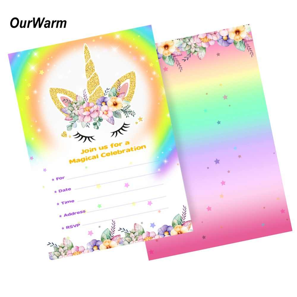 OurWarm 10 Set Unicorn Party Supplies Baby Shower Invitations Cards With Envelopes Thank You Sticker Blank