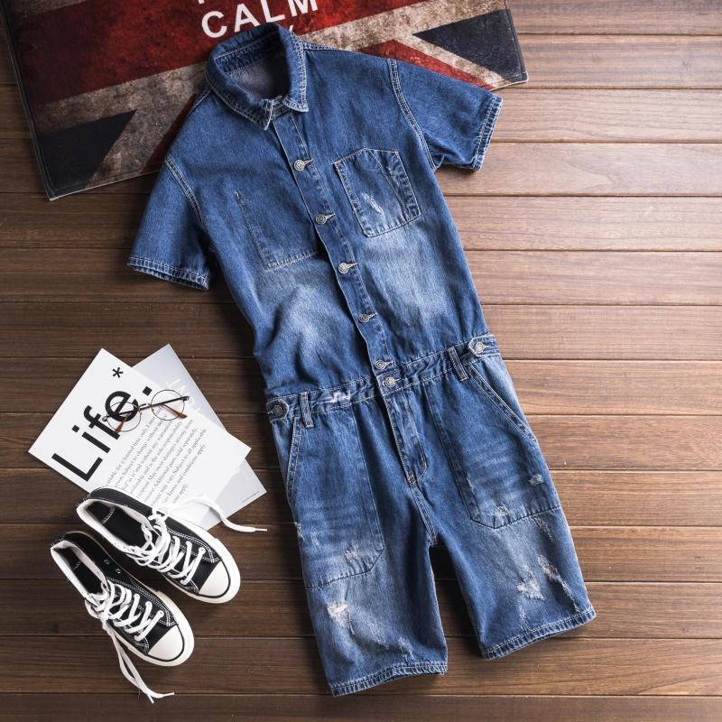 Streetwear Denim Bib Overall Shorts Men Washed Shorts Jeans Jumpsuit Letters Printed Casual Short Sleeve Suspender Short Pants In Many Styles Jeans