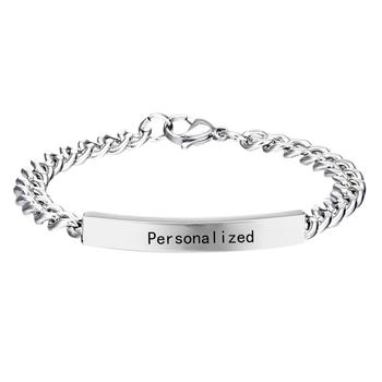 Custom Name ID Bar Bracelet Stainless Steel Custom Logo Chain Bracelets For Women Men Personalize Jewelry Best Birthday Gift men women personalize engrave name image stretch bracelet with elastic stainless steel band custom bangles unisex jewelry