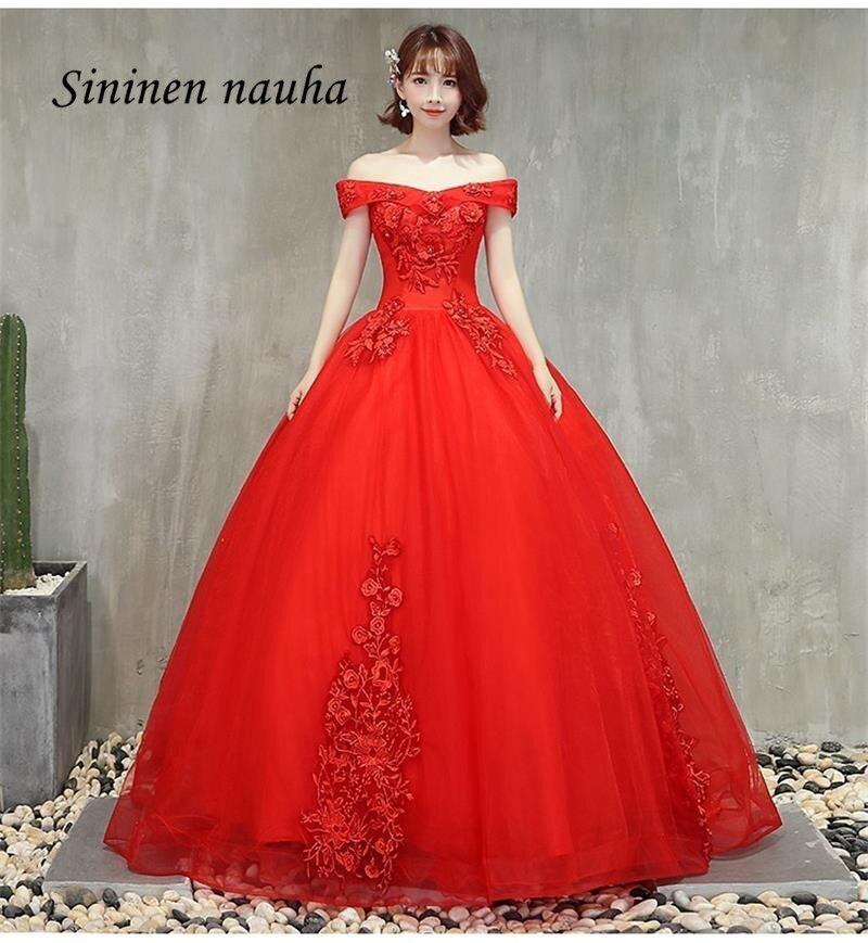 Rouge 2019 Quinceanera robes De bal avec manches hors De l'épaule Appliques robe De bal Vestidos De 15 Anos doux 16 robes 344