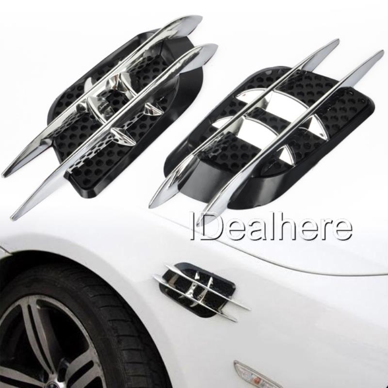 Mayitr Black and Silver ABS Plastic Car Sticker Stylish Car Side Air Flow Vent Fender Roof Engine Hood Decorate Car Side Sticker 2017 chromed abs plastic car side air vent fender cover sticker for toyota camry solara celica celsior century corolla fielder