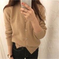 100% кашемир вязать для женщин корейский стиль Vneck Тонкий однобортный Кардиган свитер сплошной цвет S 2XL