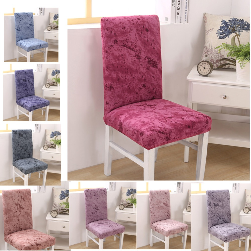 1pc Solid Color Dining Room Chair Cover Spandex Stretch Polyester Seat Cover Anti-dirty Chair Protective Case For Restaurant