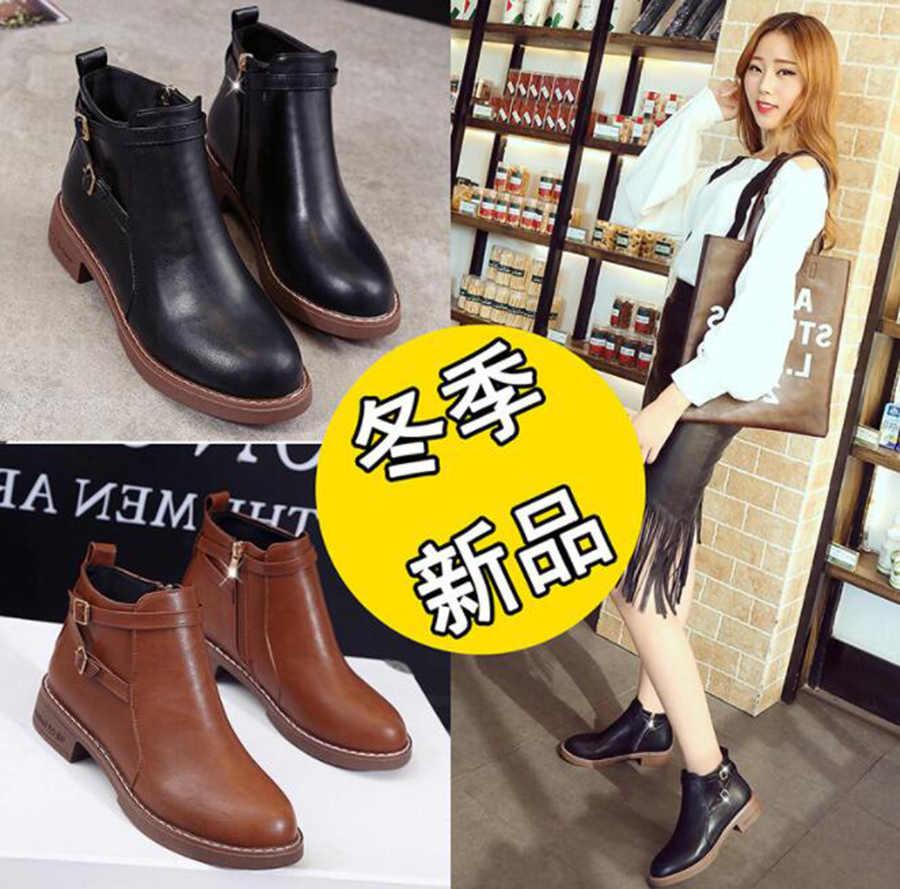 Sonbahar ve kış yeni Martin çizmeler kadın yan fermuar çift kemer toka bayanlar kısa çizmeler yuvarlak Head3CM düşük topuk kadın çizmeler