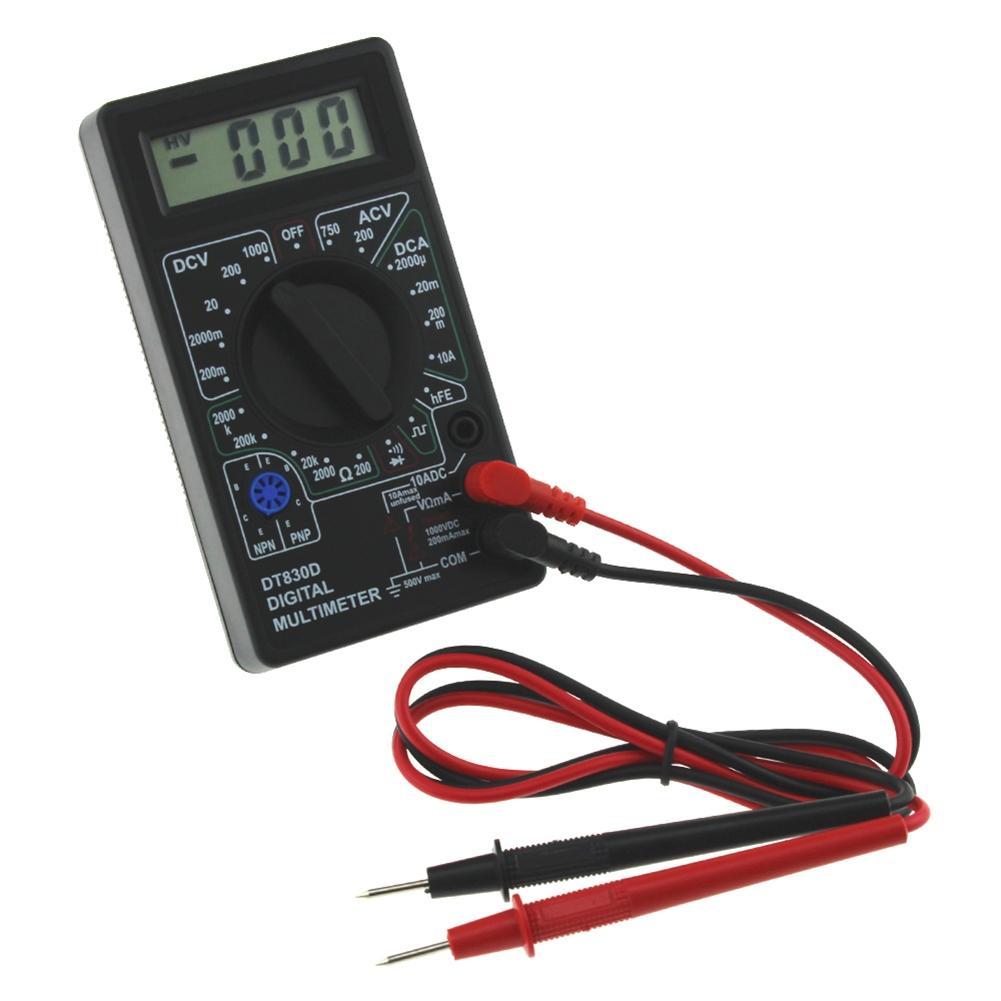 Mini Digital Multimeter Ohm Voltmeter Ammeter AVO Meter DT830D Test Leads LCD