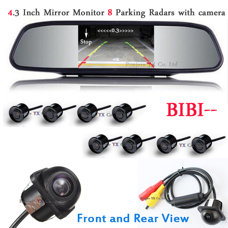 Car Parking Sensor 8 Redars Alarm Beep with Mirror Monitor Front Camera car Rear view Camera Parking Assist Parktronic Sensors beep beep go to sleep