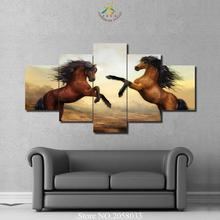 3-4-5 Pieces Two Dancing Horses Modern Wall Art Painting Home Decor Picture on Canvas Prints Artw