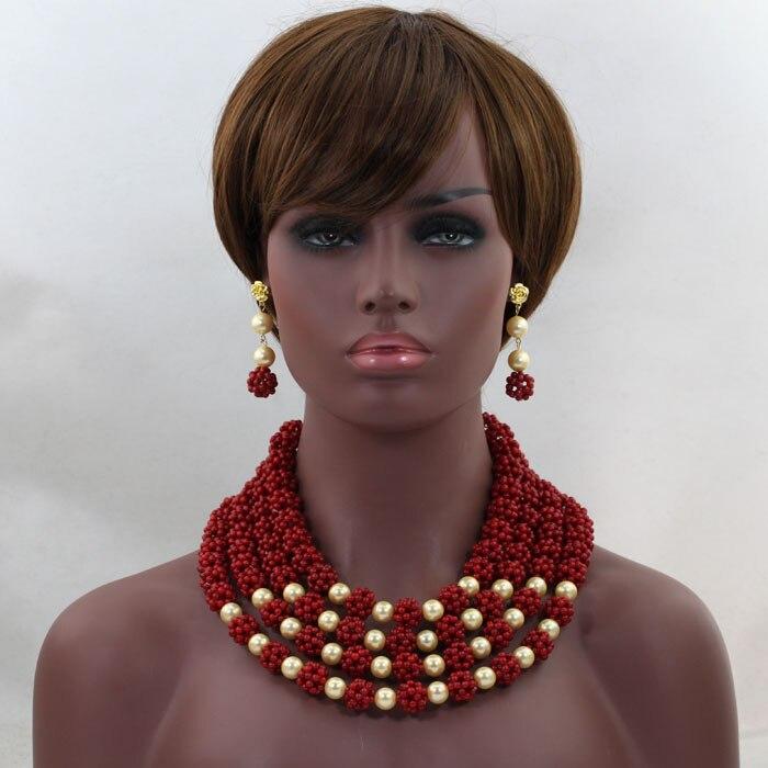 Magnifique vin rouge africain corail perles collier ensemble nigérian mariage indien mariée bijoux ensemble 2016 nouveau livraison gratuite CJ729