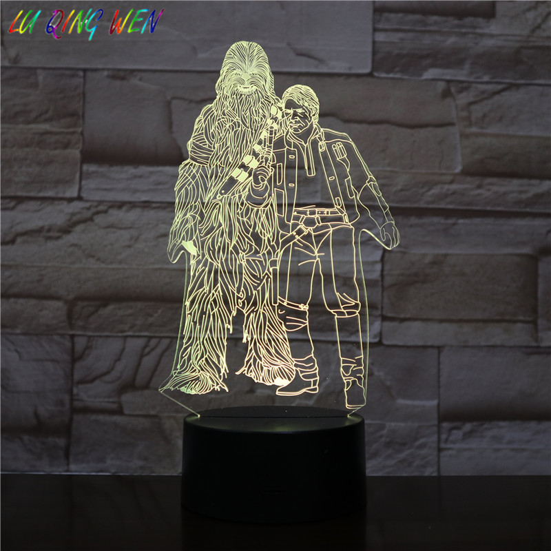 <font><b>Star</b></font> Wars <font><b>3d</b></font> <font><b>Led</b></font> Night Light Usb Touch Sensor Bedroom Decoration Boy Child Kid Nightlight Gift Chewbacca and Han Solo Night <font><b>Lamp</b></font> image