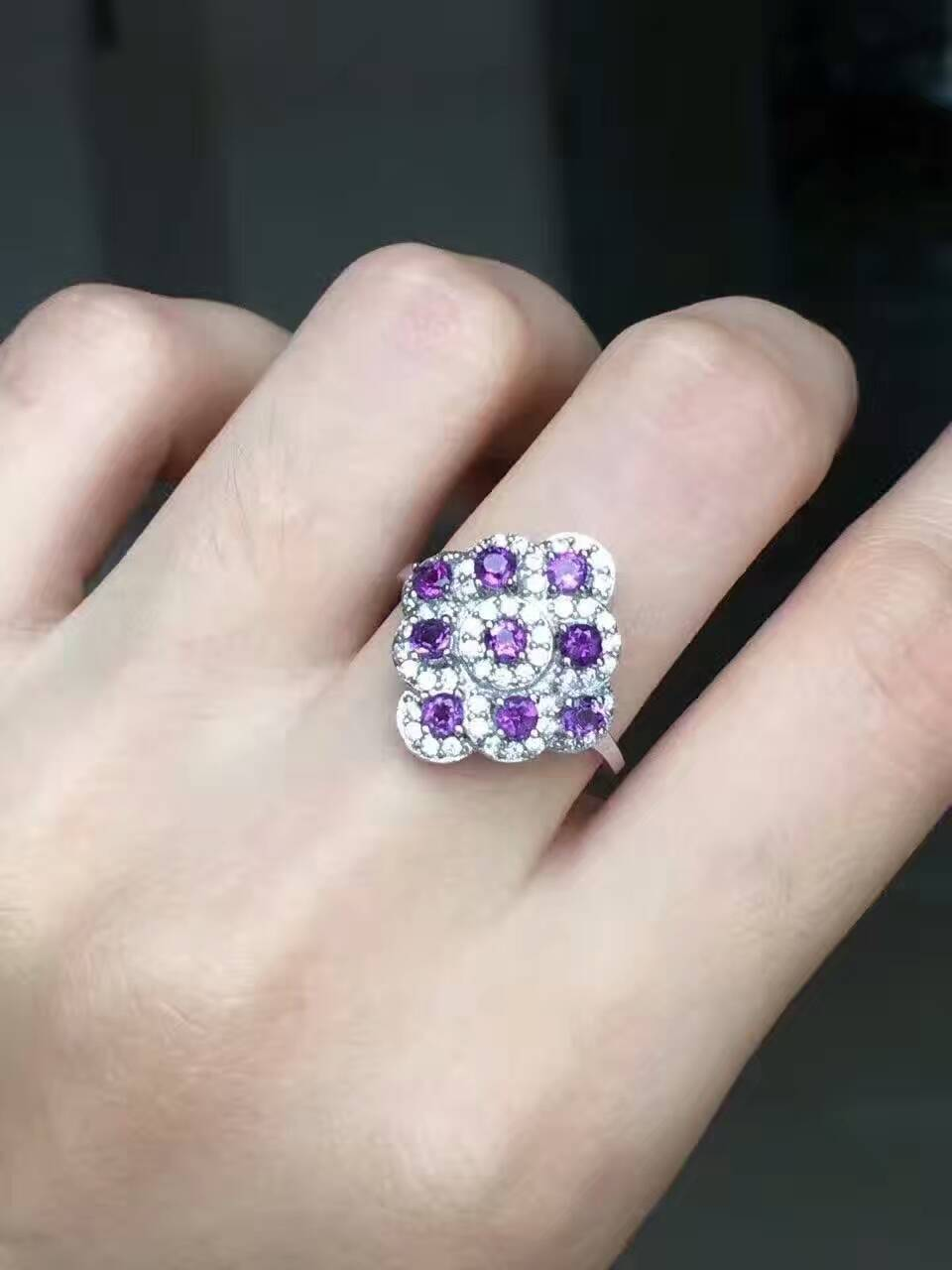 цена на Natural amethyst Ring Natural gemstone ring S925 sterling silver trendy Elegant Luxury big rhombus women girl gift Jewelry