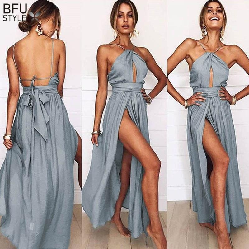 Detail Feedback Questions about Sexy Maxi Dress Women Summer Backless Long  Dress Elegant Halter Lace Up Boho Wedding Party Dresses Beach Vestidos  Verano ... 5ce85e955d68