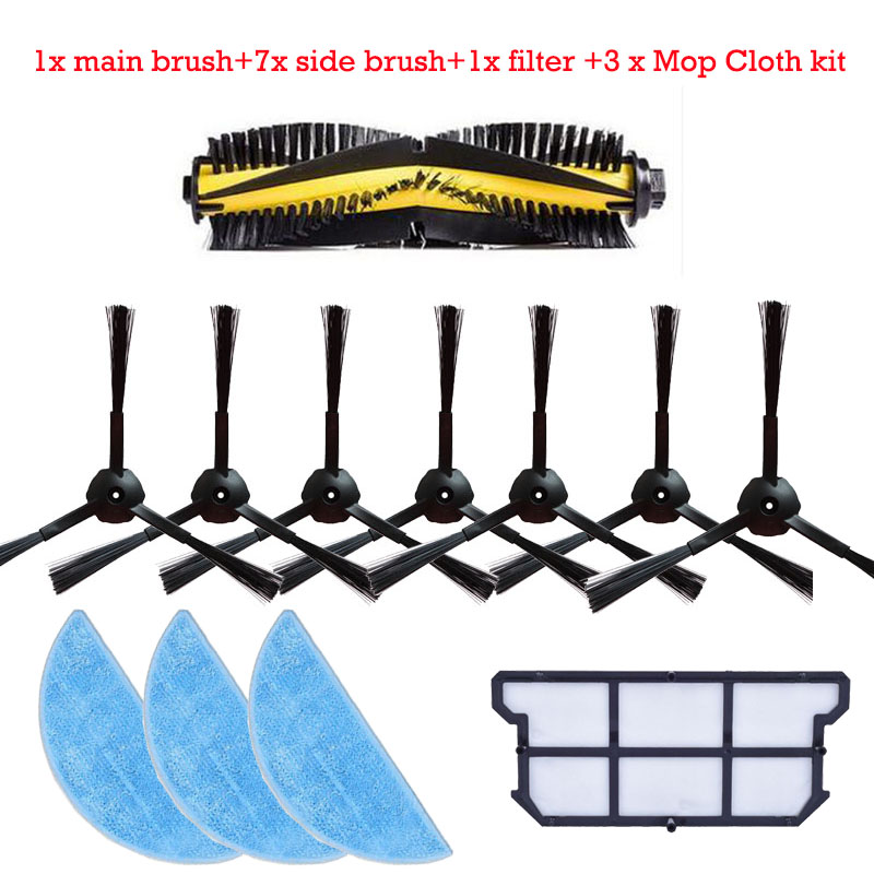 1x main brush+ 7x side brush +3x Cleaning Mop Cloth+1x hepa filter kit for chuwi ilife v7 Robotic Vacuum Cleaner parts 2 brush 3 side brush 3 hepa filter 1 cleaning cylinder robot vacuum cleaner 610 611 627 620 630 650 replacement parts