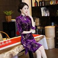 High Quality Velour Handmade Button Mandarin Collar Cheongsam Chinese Vintage Print Qipao Flower Short Dress M