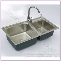 Retail Luxury SUS304 Stainless Steel Kitchen Sink With Faucet Double Bowel Drainer Angle Valve Free Shipping