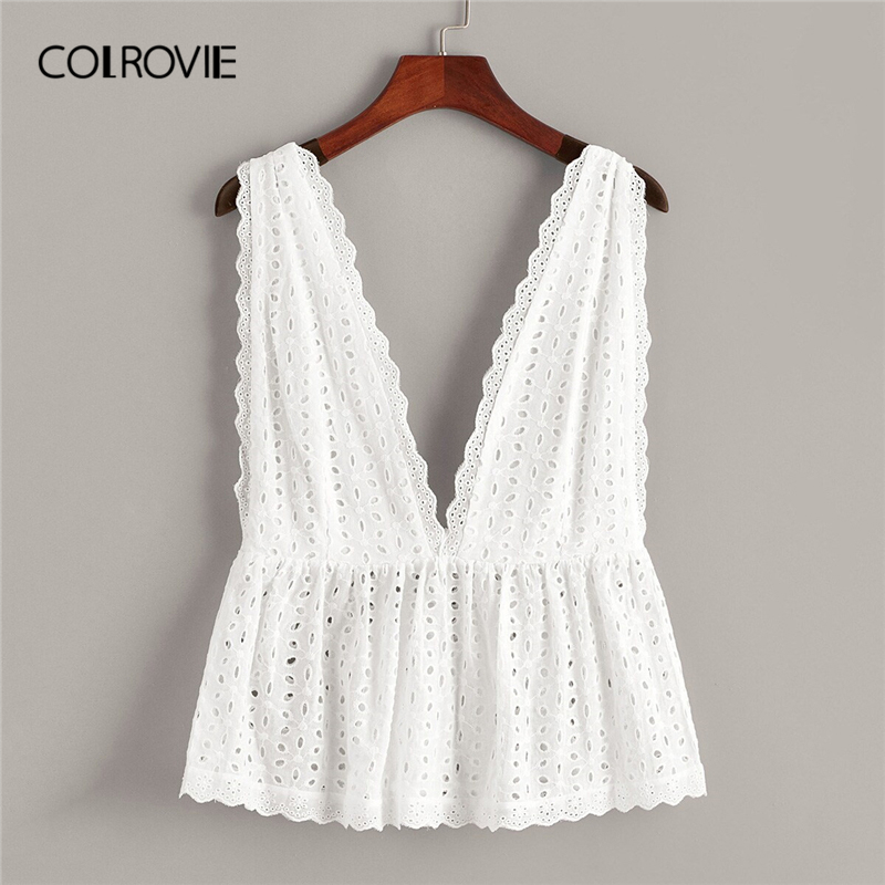 COLROVIE Women Shirts Holiday-Vest Boho-Top Ruffle White Deep-V-Neck Korean Solid Summer